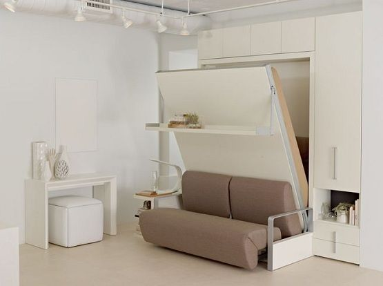 White Sofa Wall Bed Furniture For Space Saving Bedroom Home Interiors Wall Bed Systems Wall Bed Modern Murphy Beds