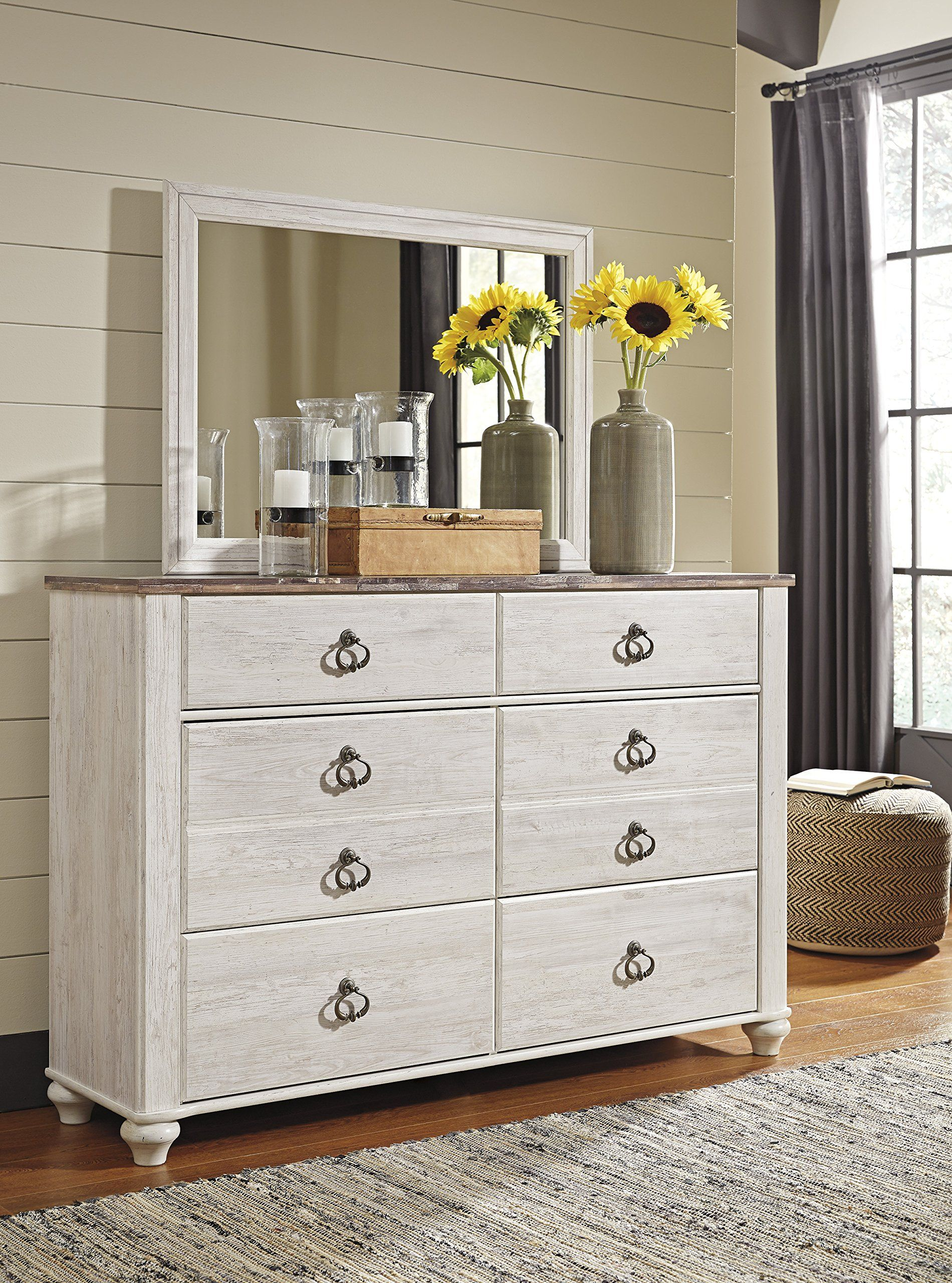 Willannet Casual Whitewash Color Wood Bed Room Set King Panel Headboard Dresser Mirror A Shabby Chic Dresser White Washed Bedroom Furniture Dresser With Mirror