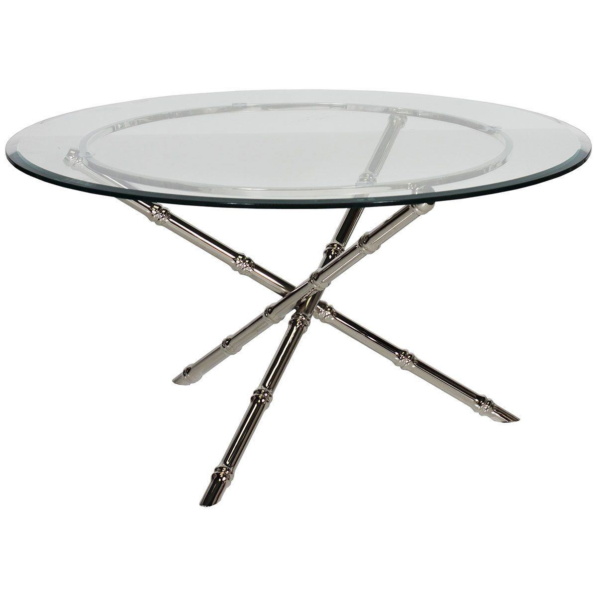 Worlds Away Nickel Plated Bamboo Coffee Table With Glass Top - Bamboo end table glass top