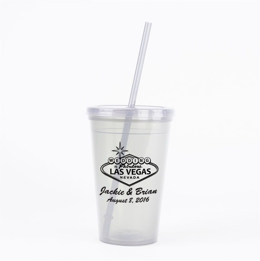 Las Vegas Wedding Favors 60 16oz Double Walled Tumblers with Lids ...