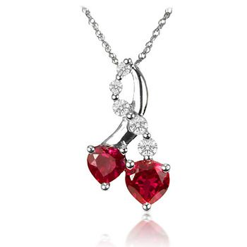 1499 13 carat created ruby and created white sapphire double 1499 13 carat created ruby and created white sapphire double heart and journey pendant in aloadofball Gallery