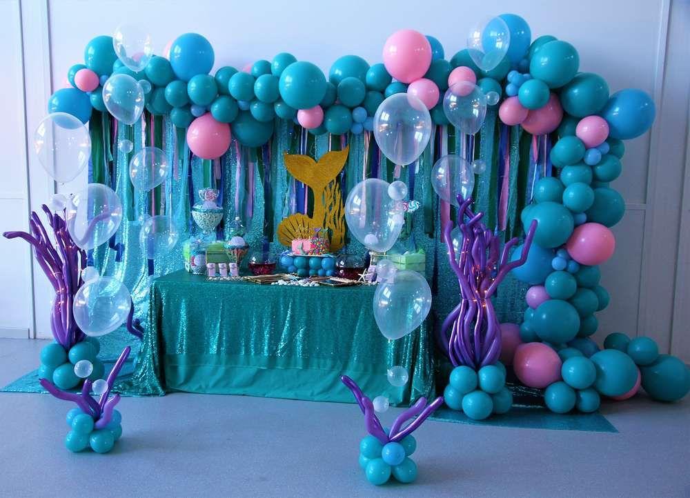 Mermaid Birthday Party Ideas Photo 1 Of 23 Mermaid Birthday Party Decorations Mermaid Birthday Party Mermaid Theme Party