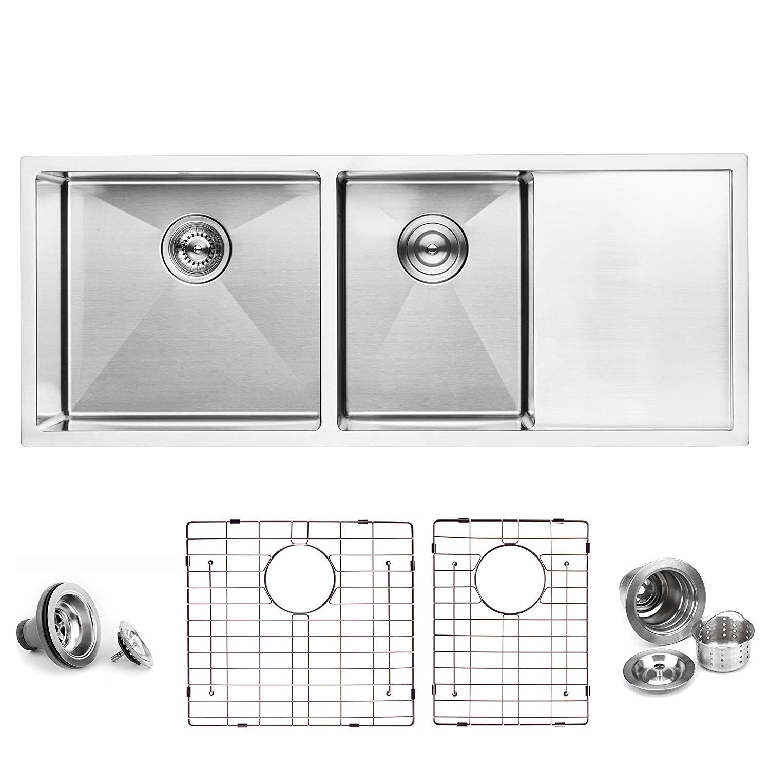 Bai 1255 45 Handmade Stainless Steel Kitchen Sink Double Bowl With Drainboard Under Mount 16 Stainless Steel Kitchen Sink Stainless Steel Kitchen Kitchen Sink