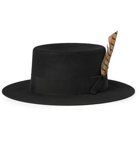 3cffbff61 Saint Laurent Feather-Trimmed Rabbit-Felt Fedora Hat   MR PORTER ...