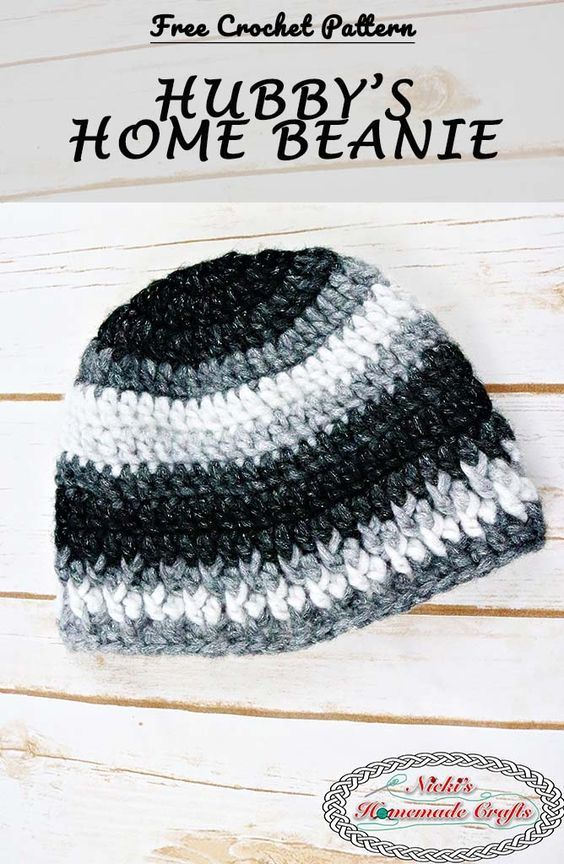 Hubbys Home Beanie Free Crochet Pattern Homemade Crafts Free