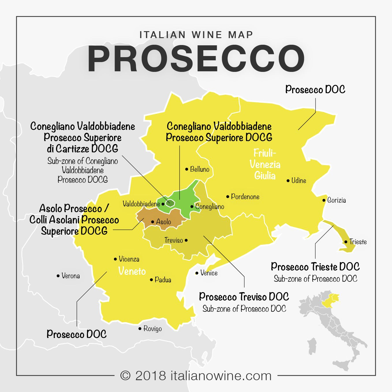 Friuli Italy Map.Italian Wine Map Production Area Of Prosecco In Veneto And Friuli