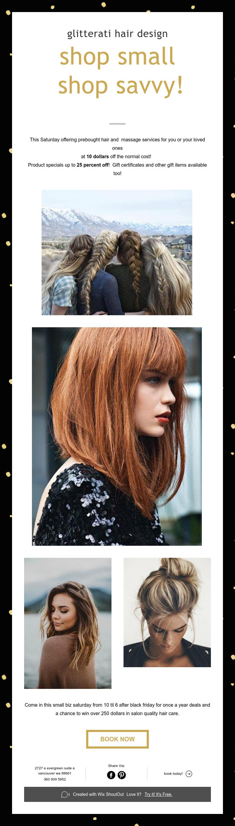 glitterati hair design  shop small  shop savvy!