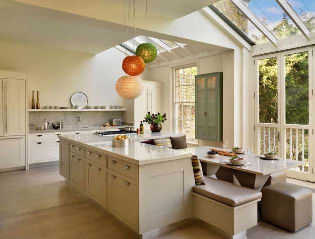 Kitchen Ideas for Small Spaces- dining table fit into island