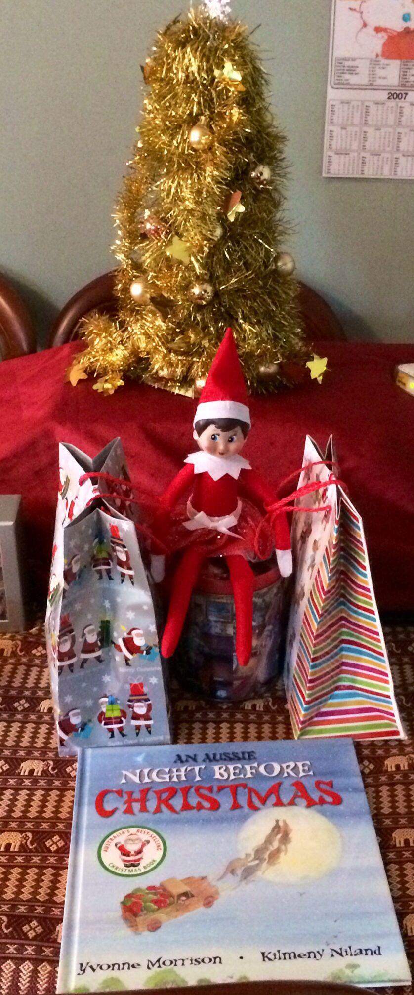 Day 24, Christmas Eve 2013. Ellie Elf on the Shelf has