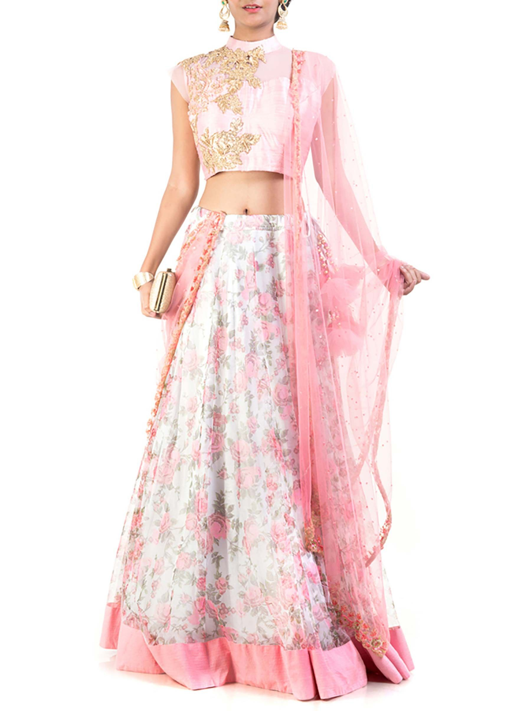 Stylish printed lehenga with heavy embroidered blouse and dupatta ...