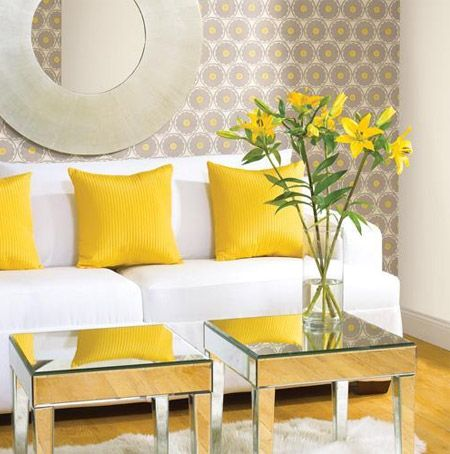 Great Rainbow Sequence   Lemon Yellow Accents In Living Room With Mirrored Tables.