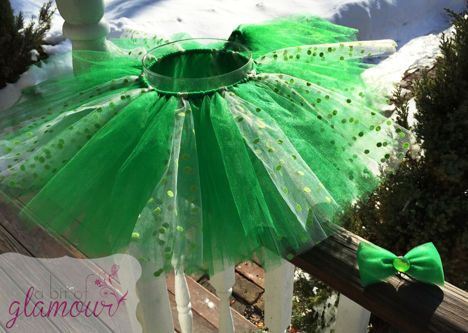 A personal favorite from my Etsy shop https://www.etsy.com/listing/225632580/green-polka-dot-tutu-set-with-matching