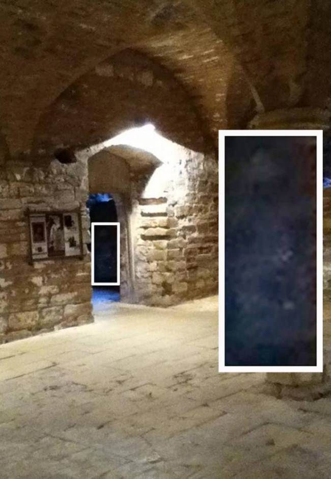 A teenager taking snaps of some medieval ruins was left stunned when he caught a ghostly image on camera.  Cameron Hamilton, 15, was on a trip to Rufford Abbey Country Park in Nottinghamshire with friends when he captured the misty white figure, which he believes is a ghost, standing in a doorway.  He was reading the information panels in the 12th century abbey's undercroft about the ghostly legends of Rufford and decided to take some photos on his iPod Touch.  Staff think he might have…