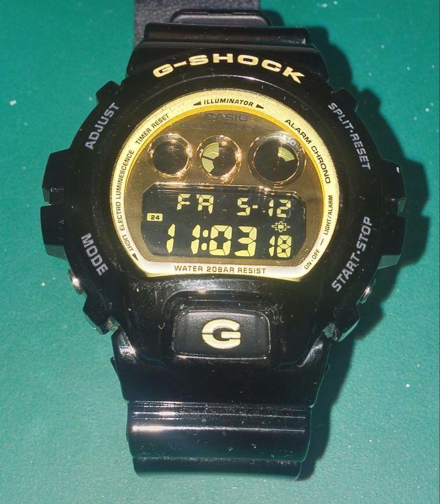 6ea456f64aa21 CLASSIC Casio G-Shock DW6900CB-1 Glossy Black   Gold 1289 Module CLEAN!   GSHOCK  Sport