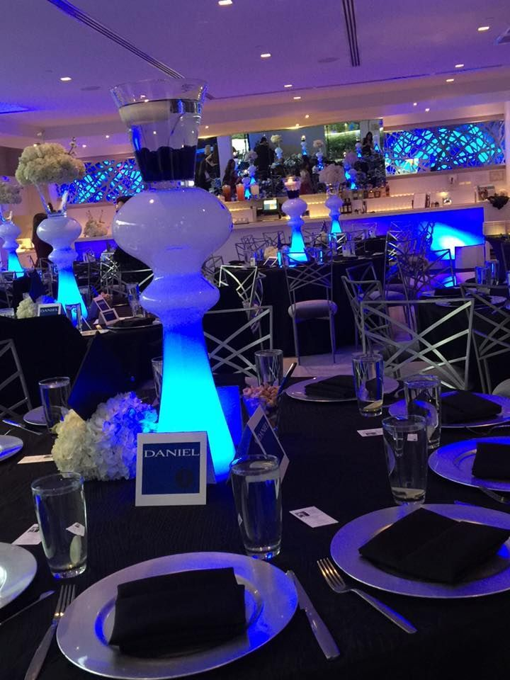 Decor by Creative Occasions. Blue uplighting by Karma Lighting. Bar Mitzvah at T...#bar #blue #creative #decor #karma #lighting #mitzvah #occasions #uplighting