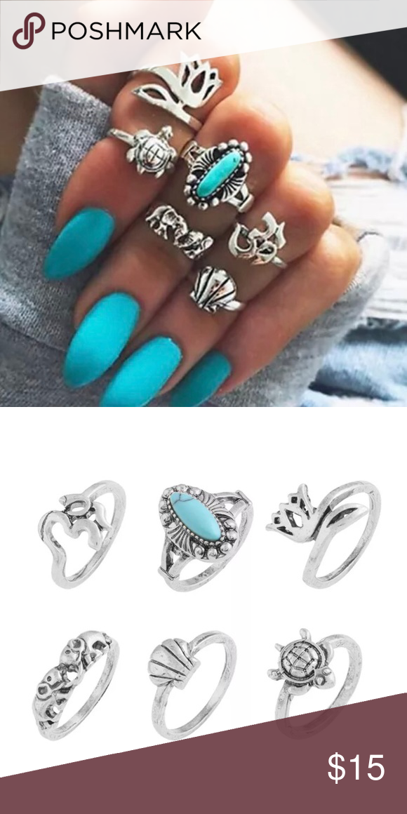 6 pcs boho midi rings Boutique | Silver color, Boho and Shell