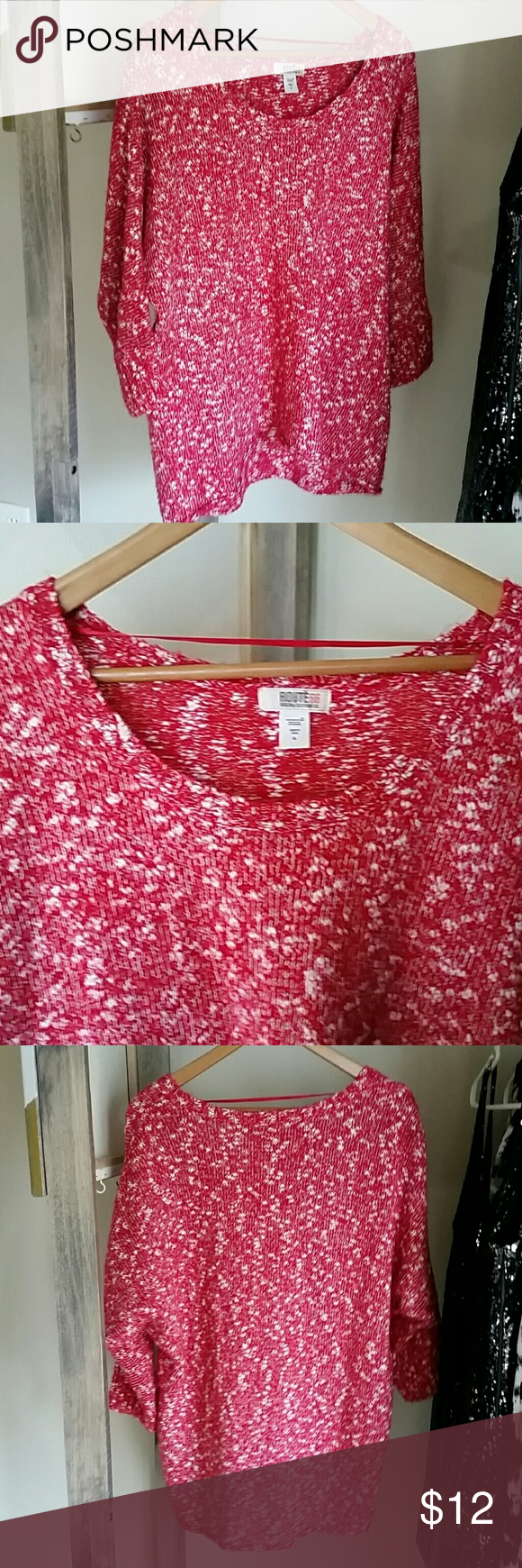 Red and white slouchy sweater Lovely red and white slouchy sweater.  Excellent condition.  3/4 length sleeves. Route 66 Sweaters