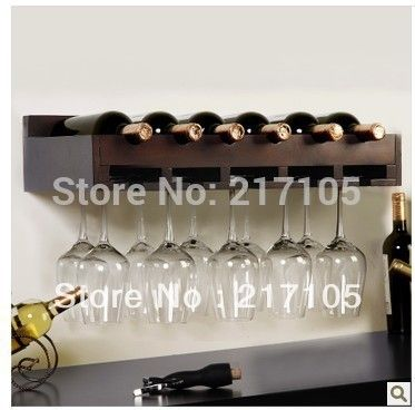 Free shipping wood wine rack shelf creative living room wall wine ...