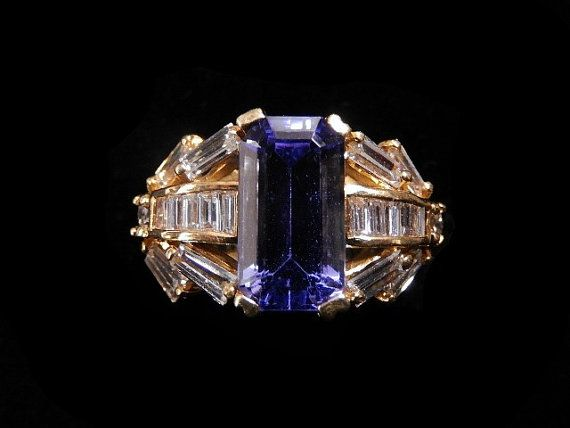 DIAMOND TANZANITE RING by HPSJEWELERS on Etsy