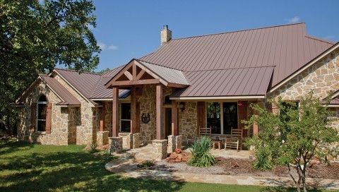 Best Maybe A Brown Metal Roof With Some Rock Or Stone At The 400 x 300