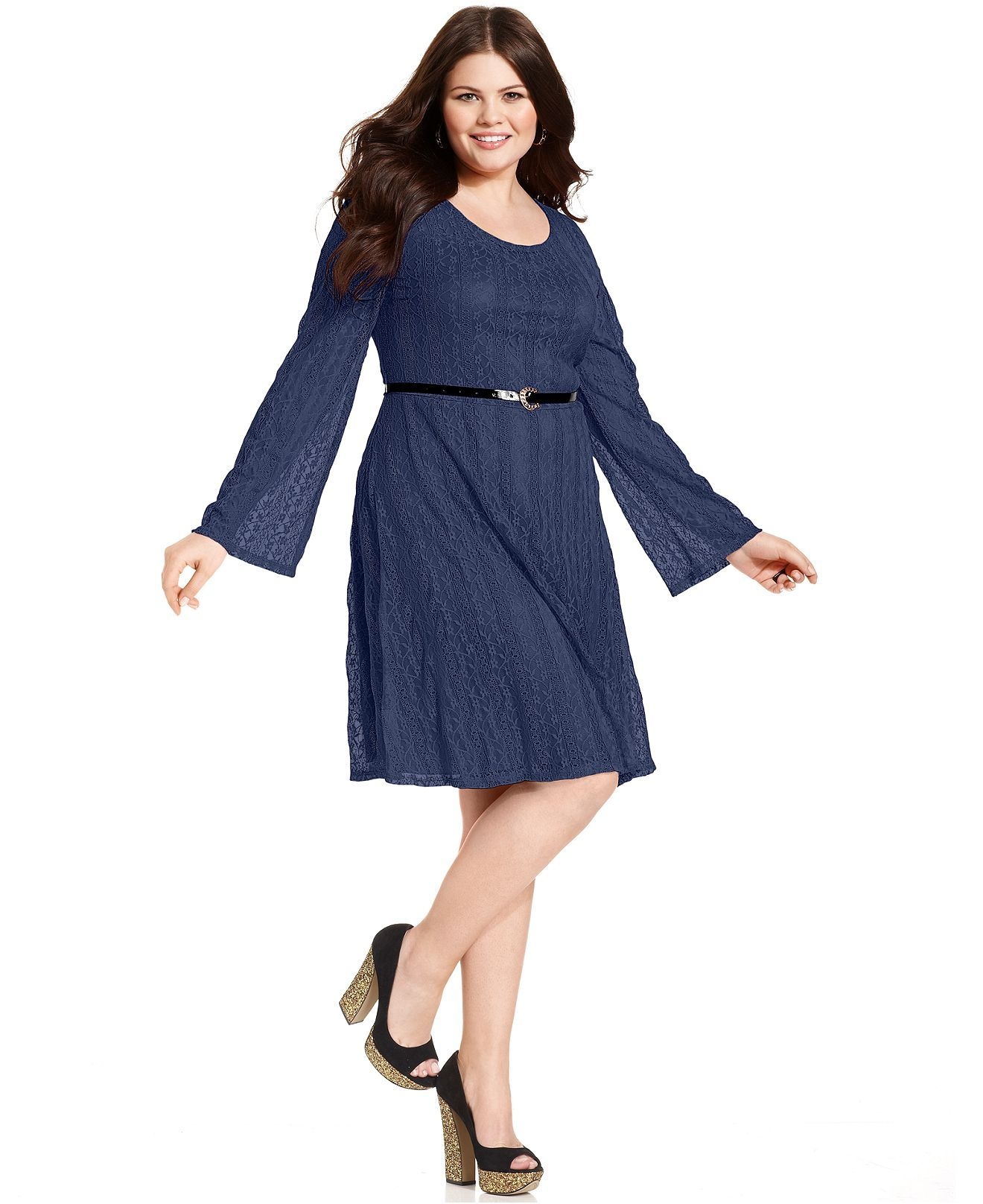 Ruby Rox Plus Size Dress, Long-Sleeve Lace Belted