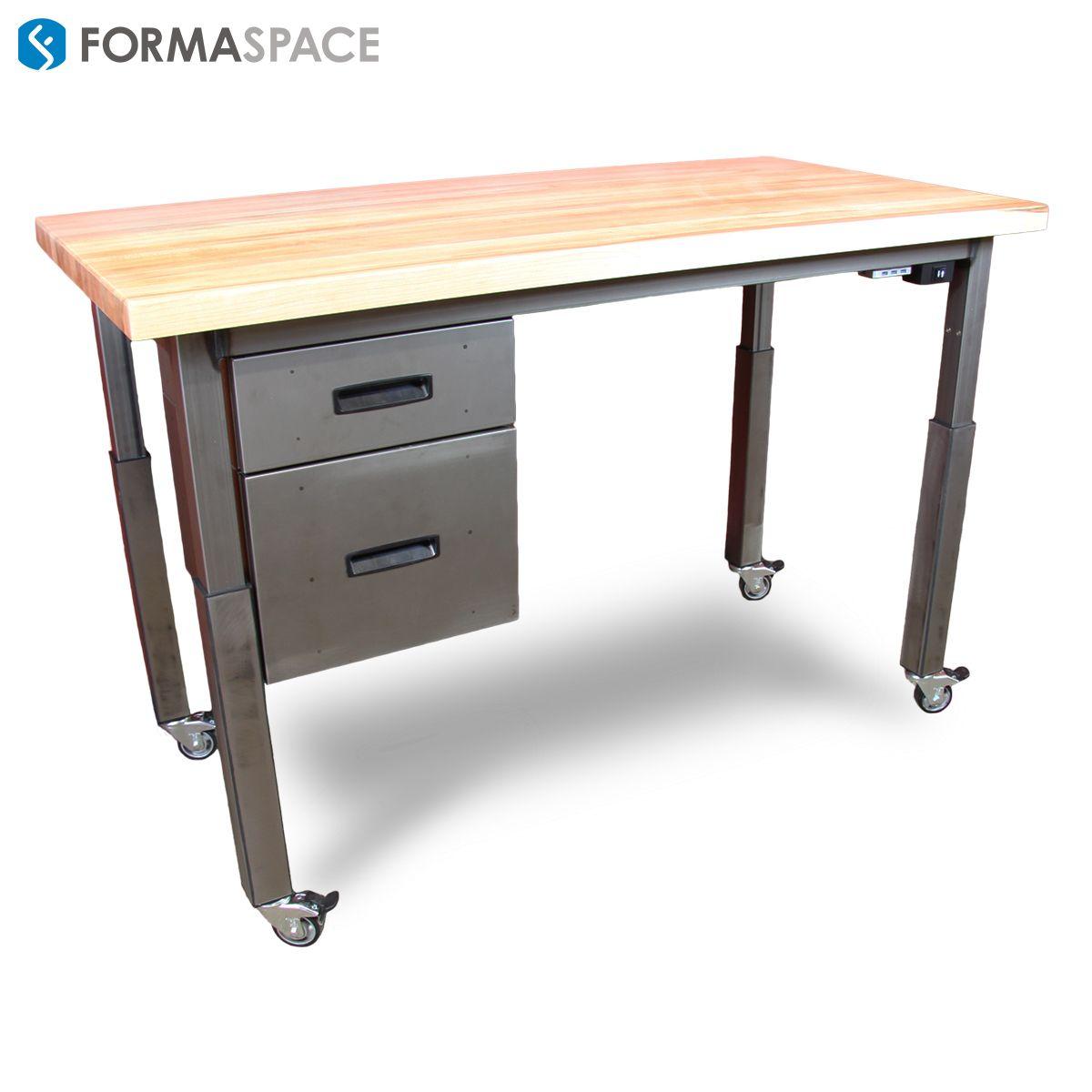 Height Adjustable Office Desk Formaspace This Height Adjustable Sit To Stand Height Adjustable Office Desk Custom Office Furniture Office Furniture Design