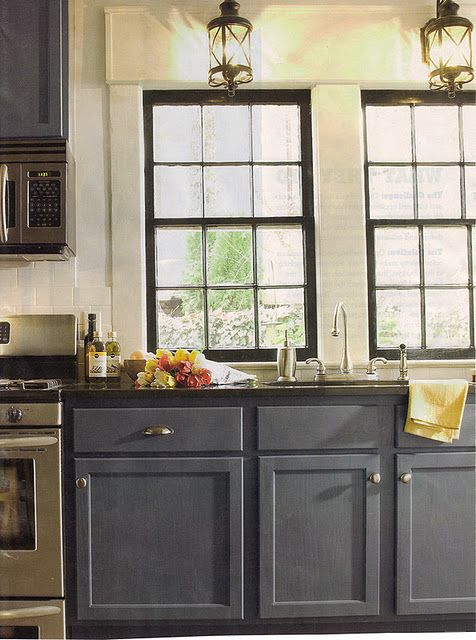 lanterns and greyblue cabinets black window frames - Kitchen Cabinets Frames