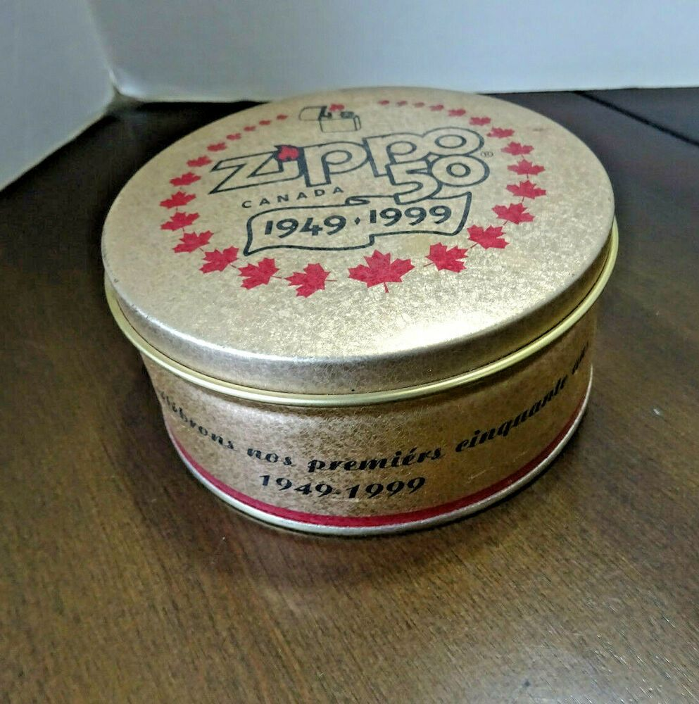 Rare Zippo Canada 50th Anniversary Tin 1949 1999 Zippo Canada Niagara Falls Zippo In 2020 Zippo Canada Zippo Zippo Lighter Display Case