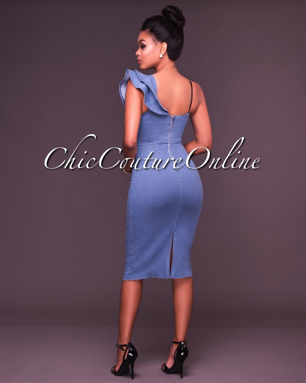 09cf8d4da9 Chic Couture Online - Amara Denim One Ruffle Sleeve Midi Dress