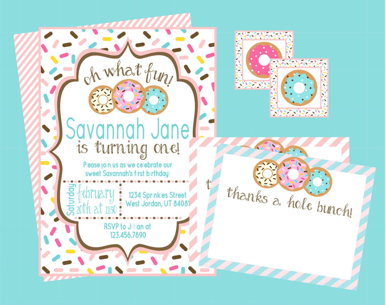 Oh What Fun! Donut Birthday Party Invitation. Personalized Digital ...