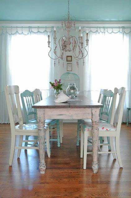 serene setting | Shabby chic dining room, Shabby chic dining ...