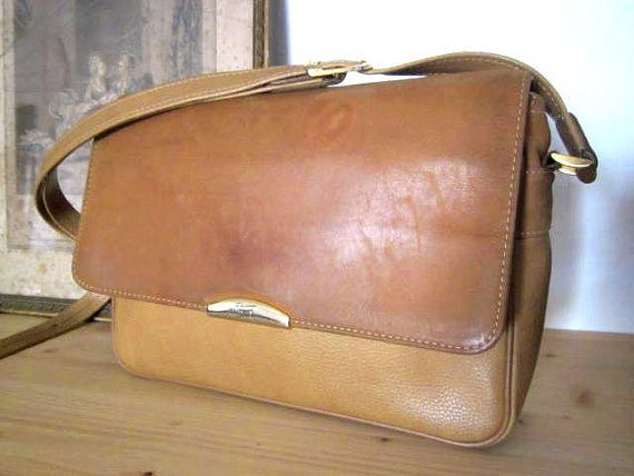 French Vtg Natural Tan Honey Leather Texier Bag By Laminuinette 65 00