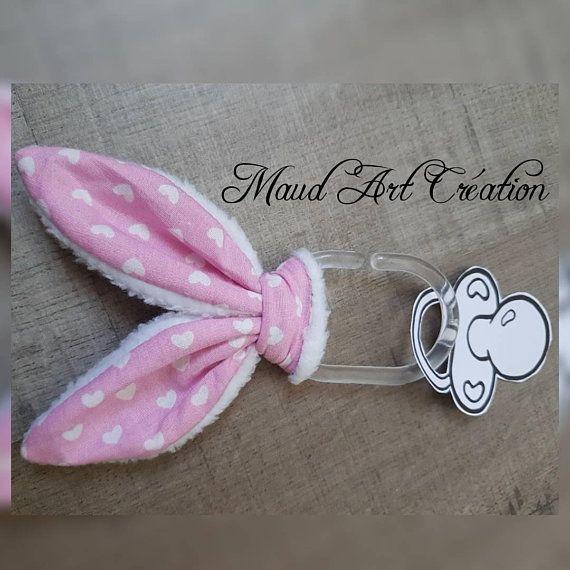 Attache tétine, doudou oreilles de lapin, cadeau naissance bébé fille, anneau en plastique
