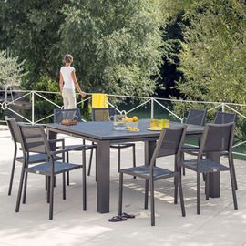 Salon de jardin : table Fiero 160 gris anthracite + 4 ...