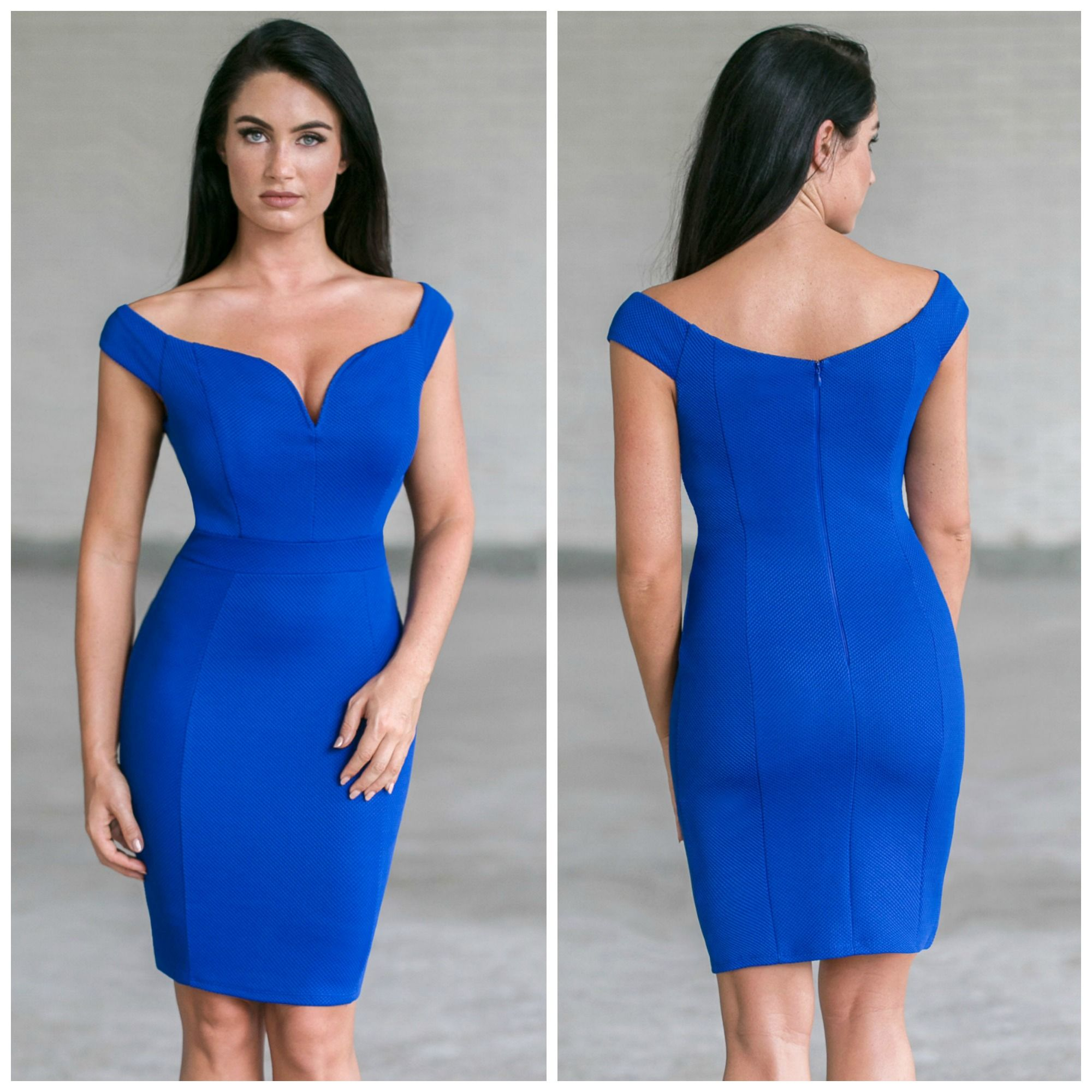 This royal blue cocktail dress has a cute off the shoulder cut! http ...