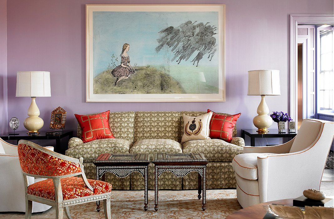 Vibrant Lavender Wall Paint Makes For A Surprisingly Flattering Backdrop To This Living Rooms Neutral Beiges