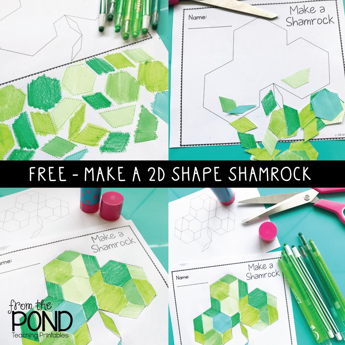 2D Shape Shamrock with Pattern Block Shapes   Classroom   Pinterest