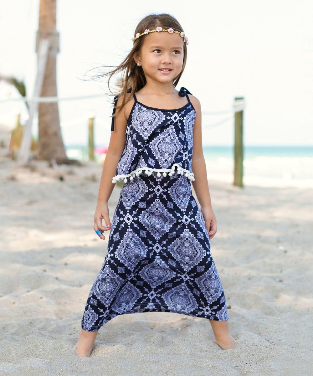 Navy u white geometric maxi dress toddler u girls products