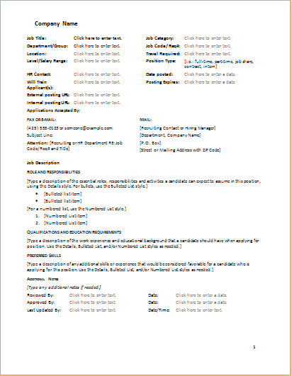 Job Description Form For Word Download At HttpWorddoxOrgJob