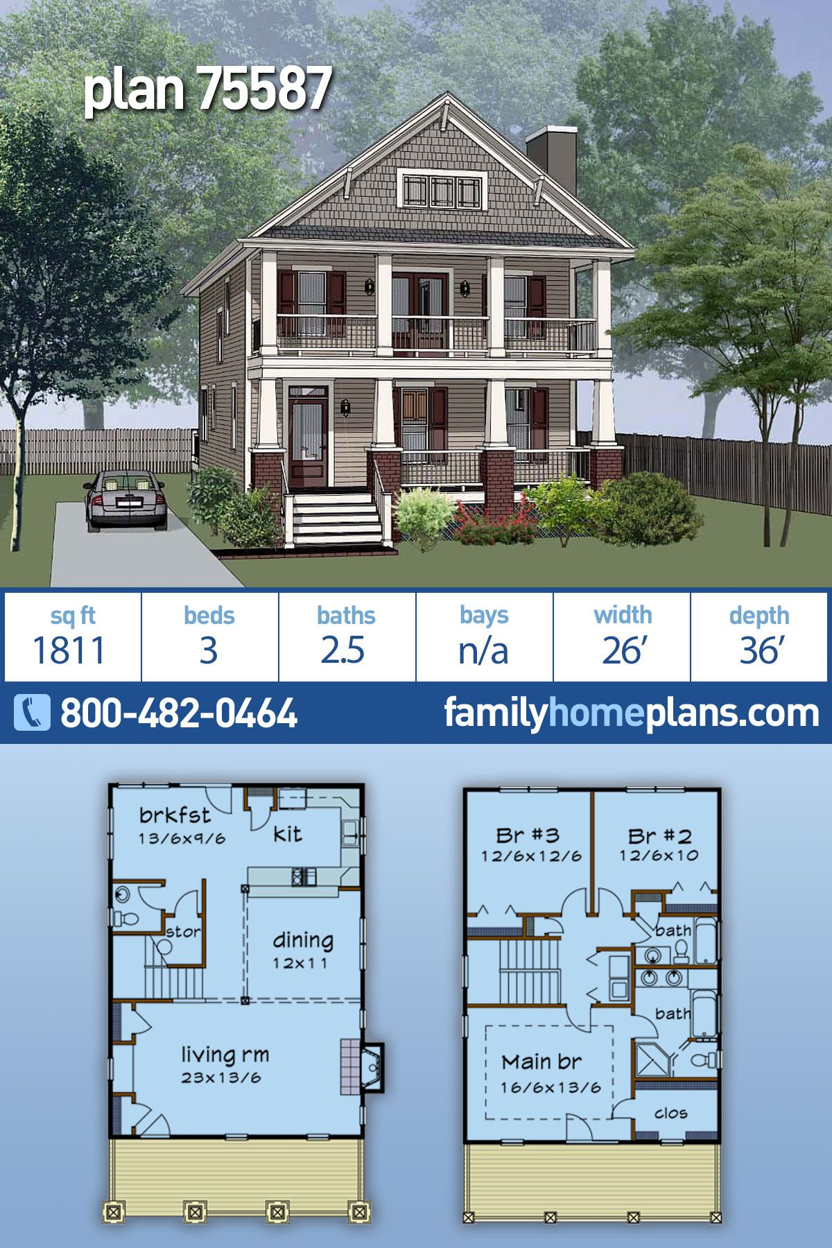 Southern Style House Plan 75587 With 3 Bed 3 Bath In 2020 Sims House Plans Metal House Plans House Plans