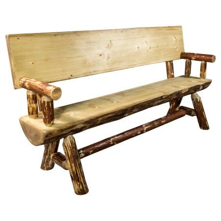 Glacier Country Collection Half Log Bench W/ Back U0026 Arms, Exterior Stain  Finish, 6 Foot, Brown