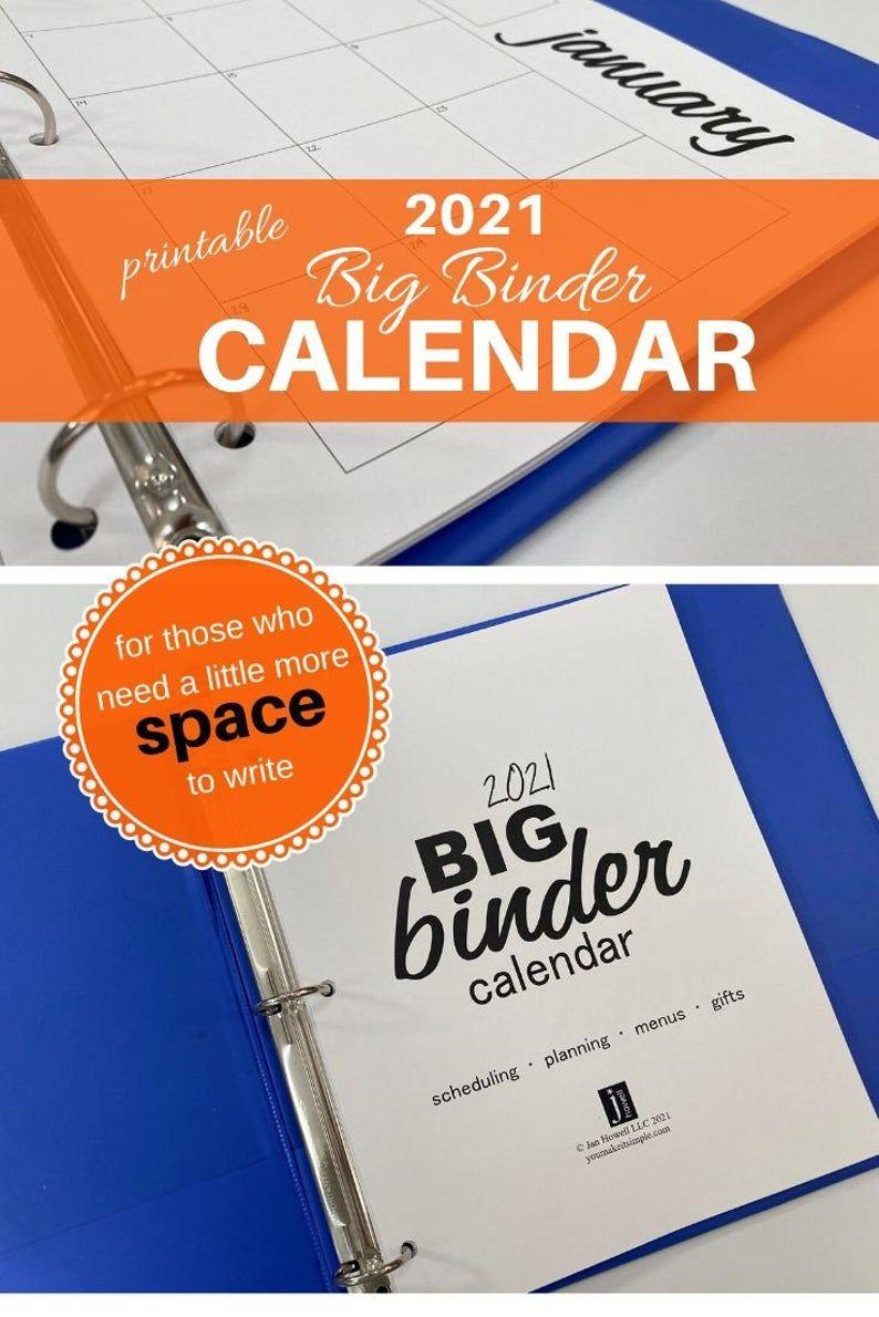 2021 FULL SIZE Binder Calendars Black Script 8 1/2 x 11 ...