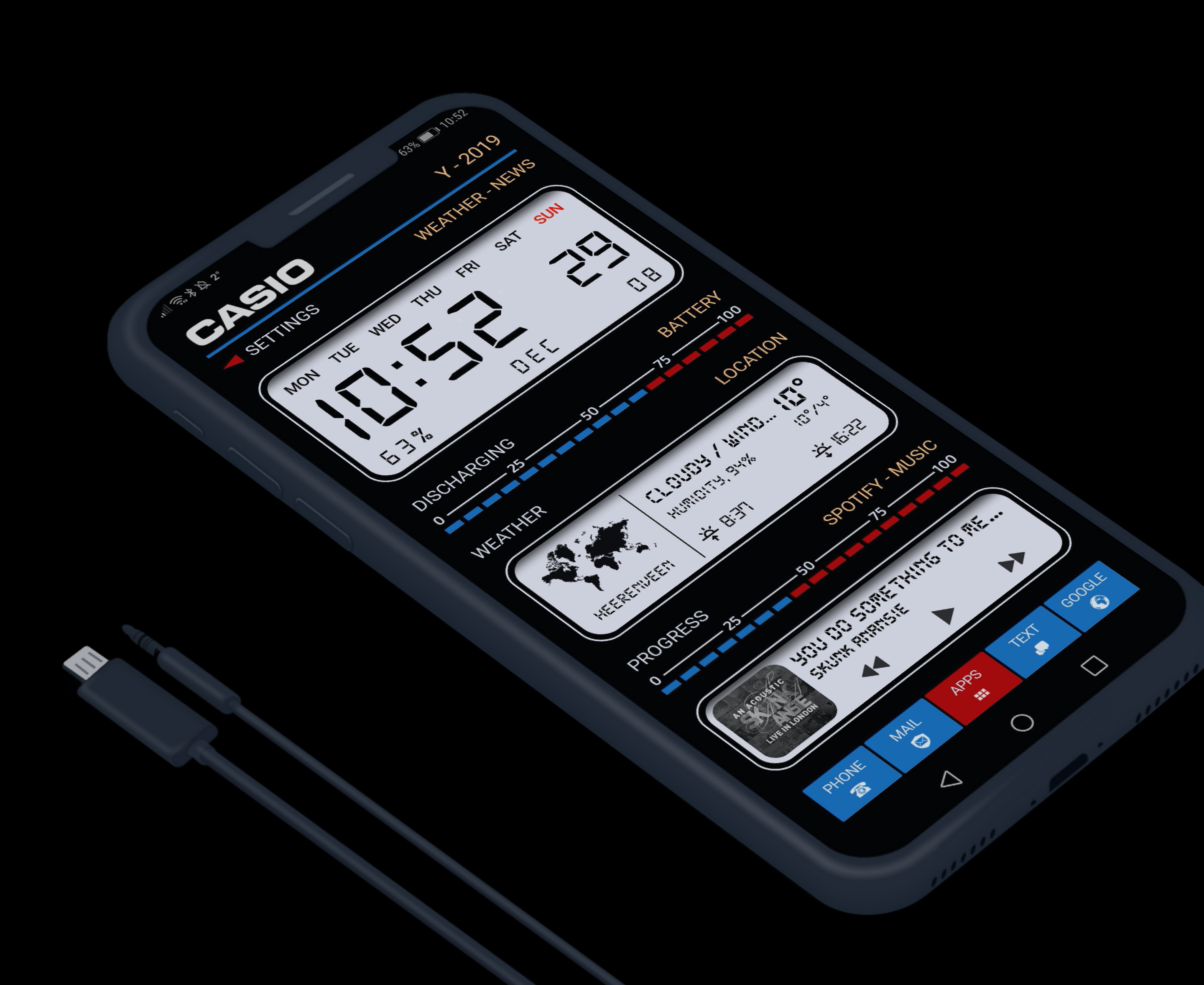 Casio retro theme for klwp in 2020 Technology theme