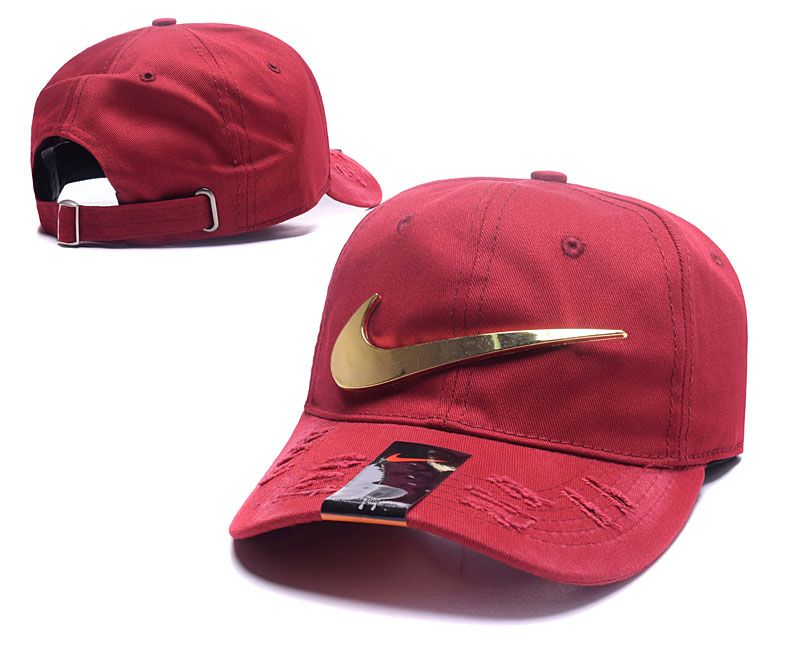 Men's / Women's Nike Metallic Golden Check / Pin / Logo Distressed Dad Hat - Maroon / Gold