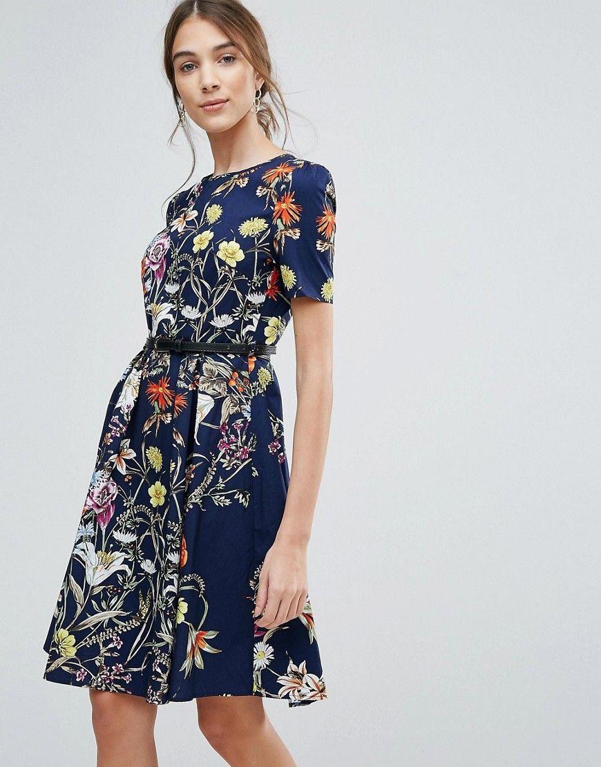 Uttam Boutique - Geblümtes Kleid mit Gürtel - Navy Jetzt bestellen