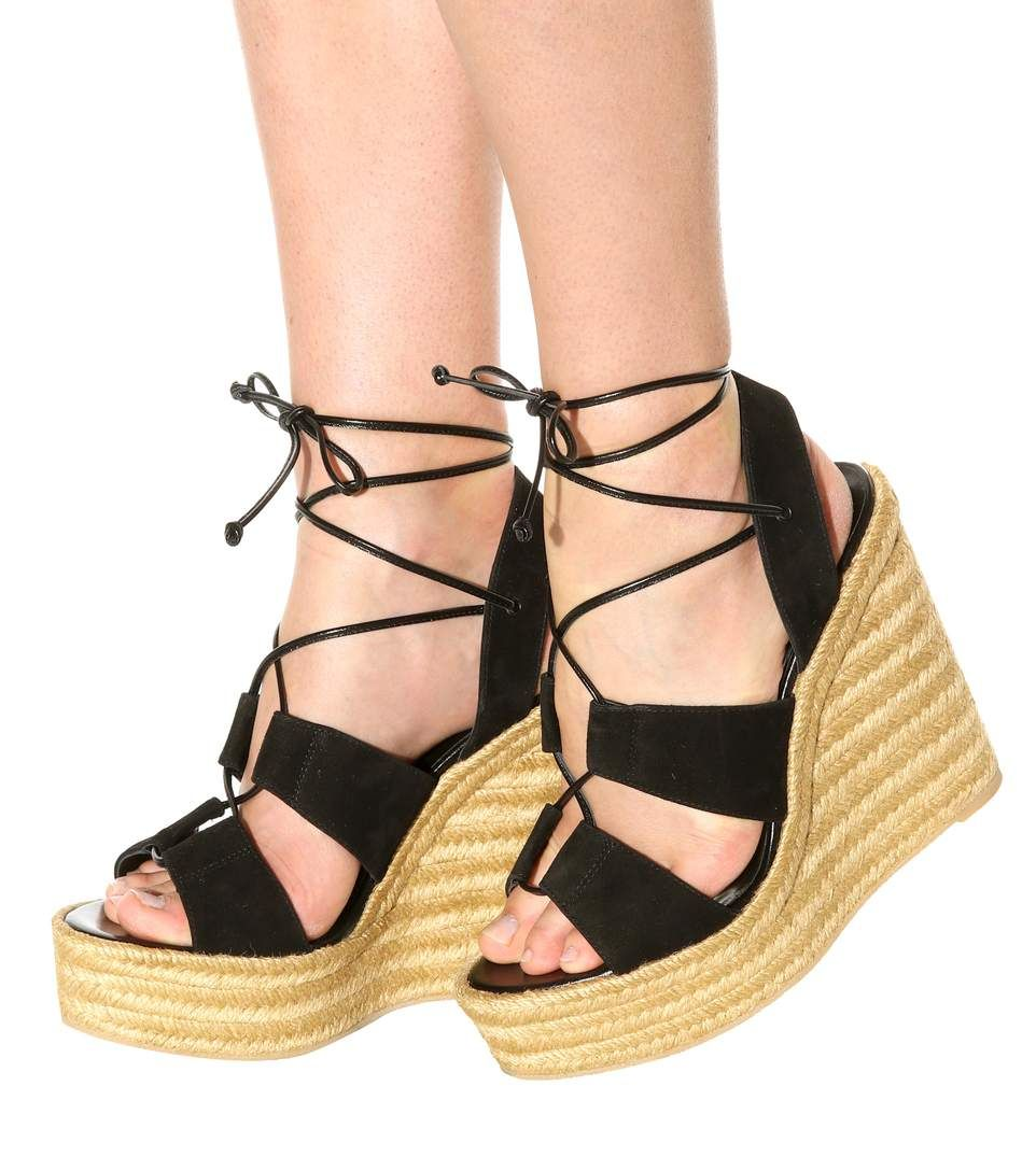 Espadrille 95 light black suede espadrille wedge sandals