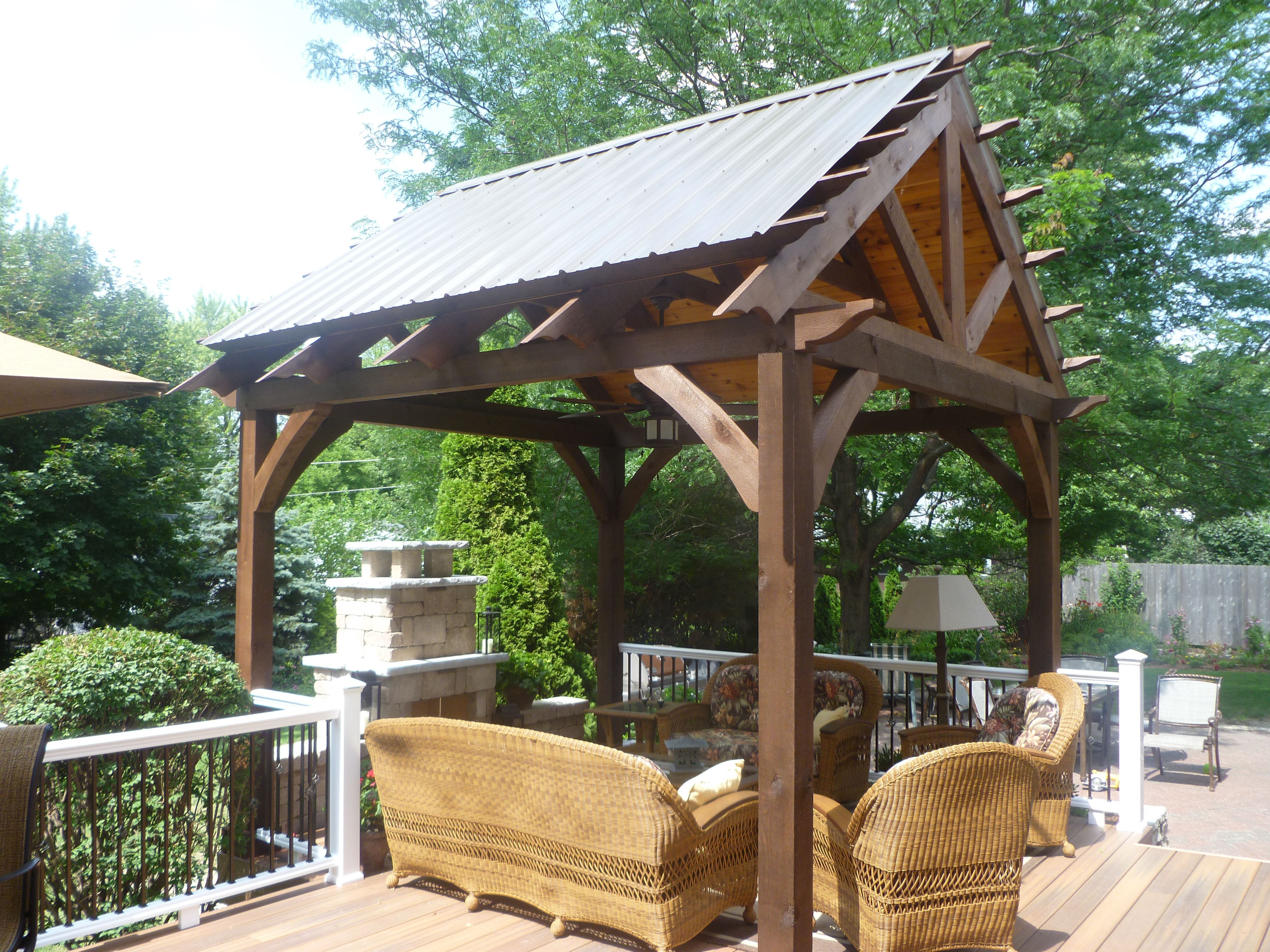 Bellas Landscaping Roofed Pergola And Fire Place Outdoor
