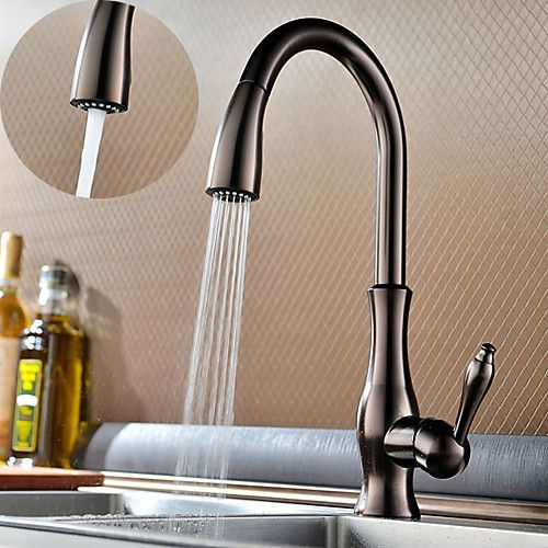 107 99 Brass Kitchen Faucet Single Handle One Hole Oil Rubbed Bronze Pull Out Spray Type Andstandard Spout Deck Mounted Traditional Kitchen Taps With Hot An In 2021 Oil Rubbed Bronze Kitchen Faucet Bronze Kitchen Kitchen faucet with highest flow rate