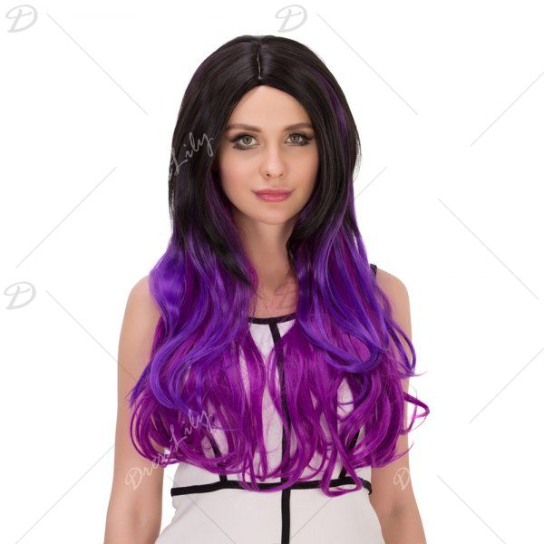 Centre Parting Long Ombre Wavy Synthetic Lolita Wig