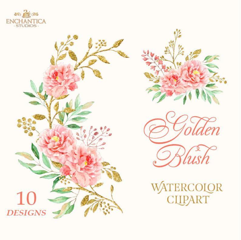 Blush Flower Clipart Blush Watercolor Clipart Digital Etsy Flower Clipart Digital Flowers Gold Clipart